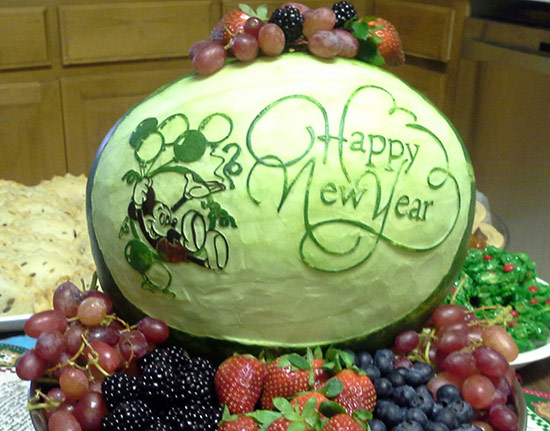Happy New YEr Mickey Mouse watermelon carving by Cindy Rozich