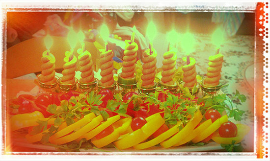 vegetable menorah lit