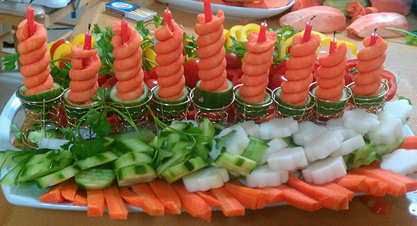 vegetable menorah for Hanukkah by Milana