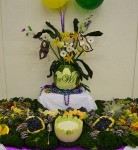 Mardi Gras watermelon carving display
