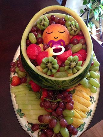 watermelon baby carrier fruit salad for baby shower by Rosie