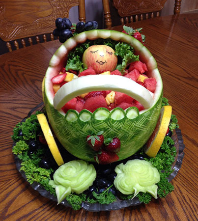 bassinet baby shower watermelon carving by Deborah