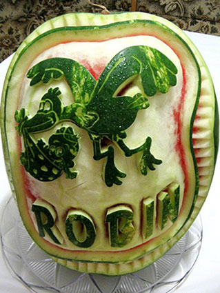 stork watermelon carving by Marius