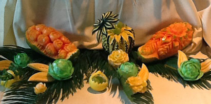 wedding fruit carving art by Jeanette