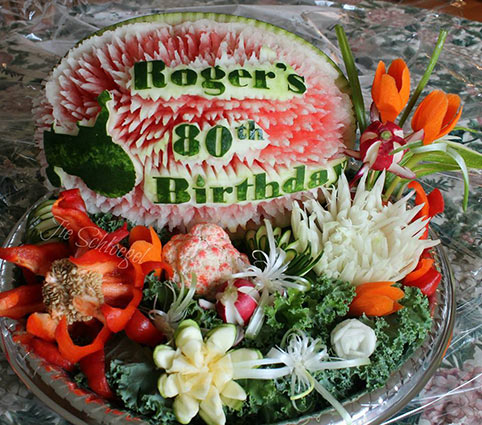 80th birthday fruit display by Josephine Schloegel