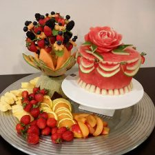 Fresh fruit cake and fruit bouquet, was created by customer/student Hannah Perryman