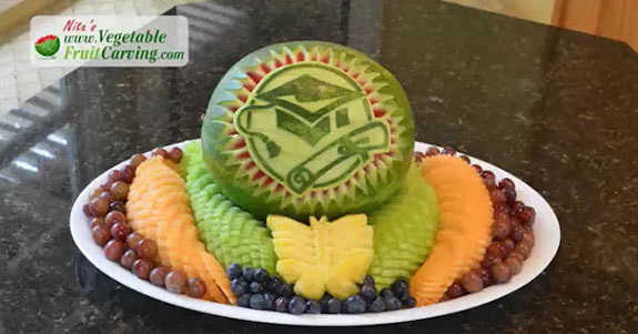 graduation watermelon carving fruit tray