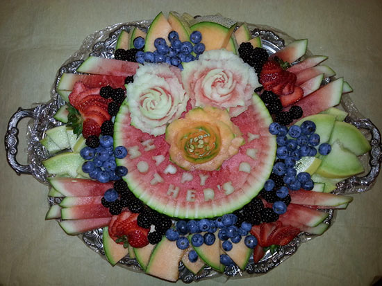 Colorful fruit tray with Happy other's Day on watermelon