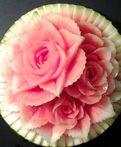 watermelon carving for Mother's Day