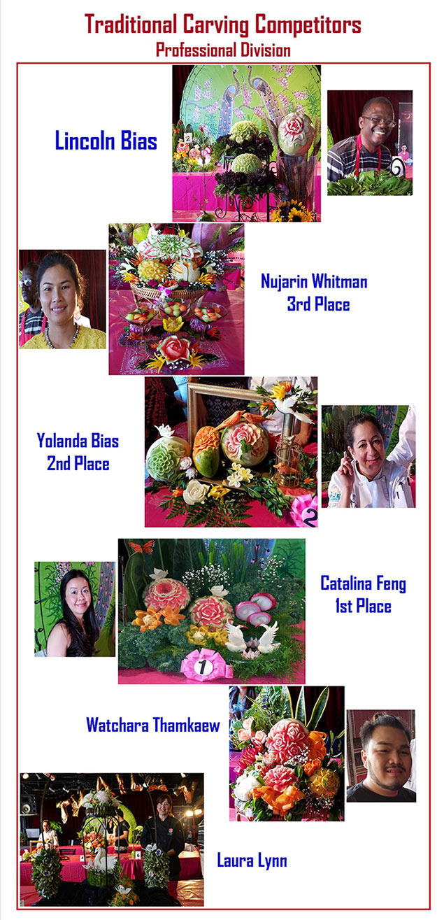 Professional Division winners of the Thai Carving Competition