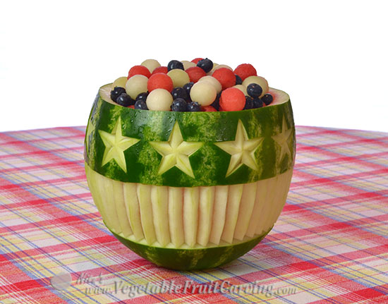 stars stripes watermelon bowl 3D