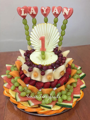 1st birthday fresh fruit cake by Sonia