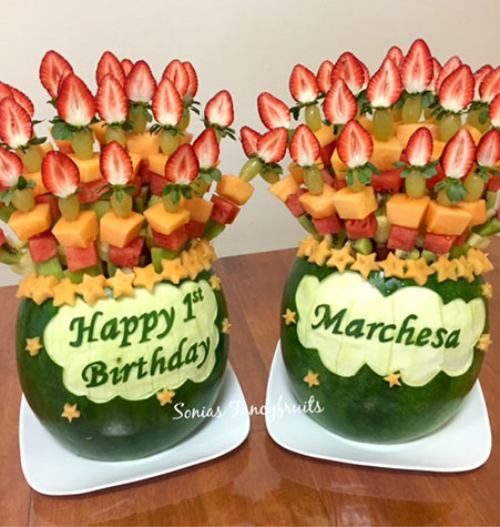 Baby's 1st Birthday Fruit Arrangements with fruit kabobs by Sanaa Etri