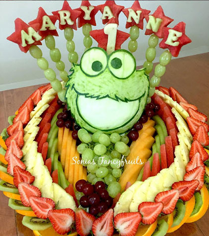 cookie monster fruit tray by sanaa etri