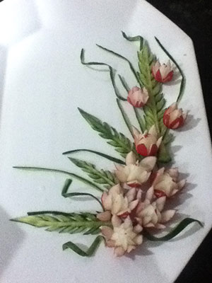 radish flower plate decoration by Anna Nguyen