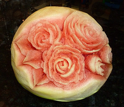Anna's first watermelon carved with Roses