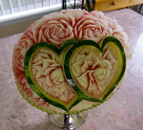 watermelon carved with hearts and roses by Rani Patel