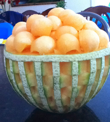 cantaloupe basket weave melon bowl by Anna Nguyen
