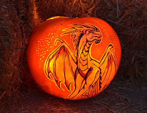 Dragon carved pumpkin