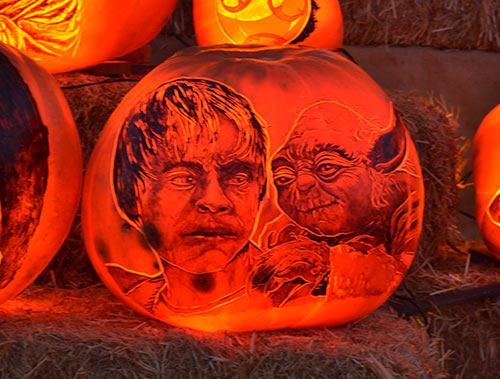 Luke Skywalker with Yoda carved pumpkin