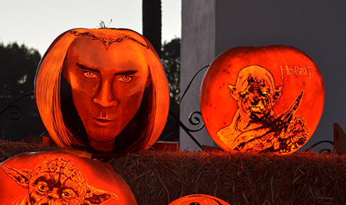 Thranduil and Azog Hobbit pumpkins at the SRF in Encinitas-2015