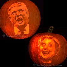 Donald Trump and Hillary Clinton Pumpkins