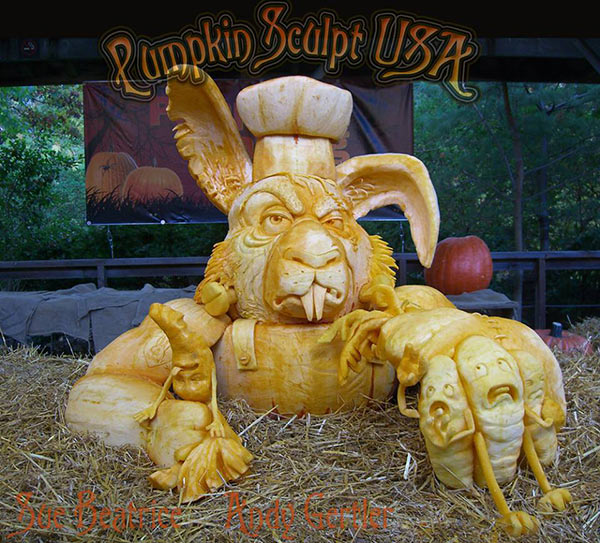 Rabid Rabbit by Sue Beatrice and Andy Gertler - best of pumpkin sculptures