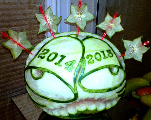 2013 - 2014 New Year's bells carved on melons