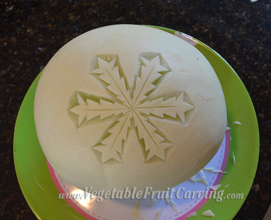 step 1 of melon snowflake carving
