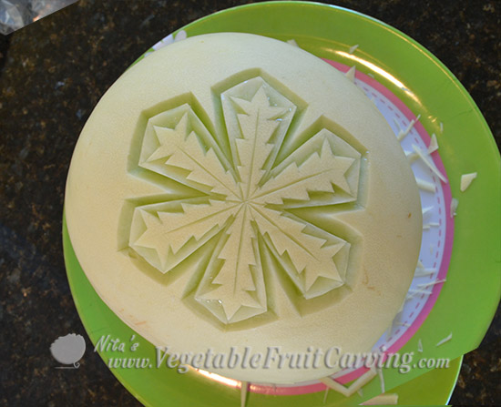set 2 of melon snowflake carving