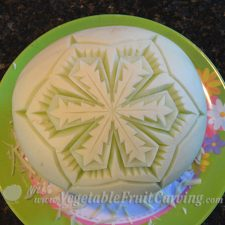 how to carve a melon snowflake step-by-step