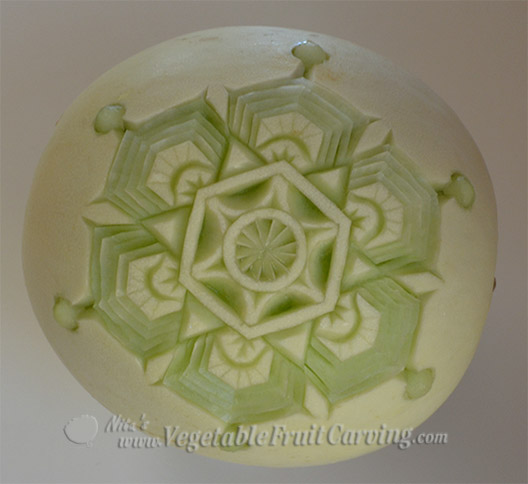 Melon Snowflake carving 2