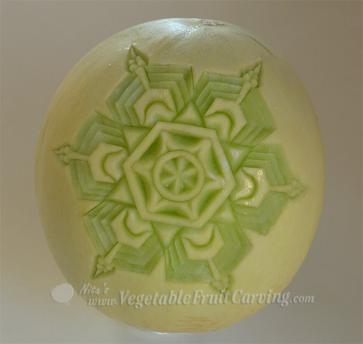 Melon snowflake carving 1