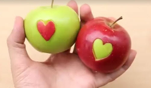 Apple hearts Valentine's Day Food idea