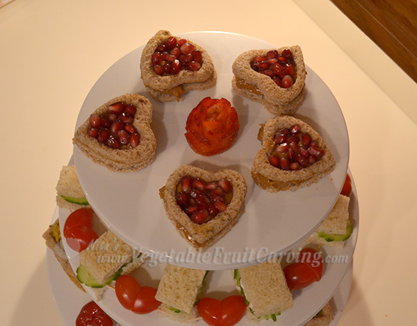 heart shaped pomegranate sandwiches