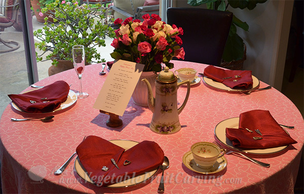 Valentine's tea party place setting