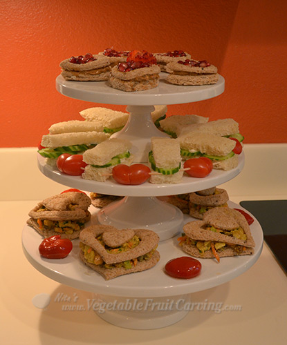 Finger sandwiches themed for Valentine's Tea Party