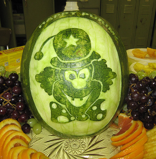 Clown watermelon carving for Purim