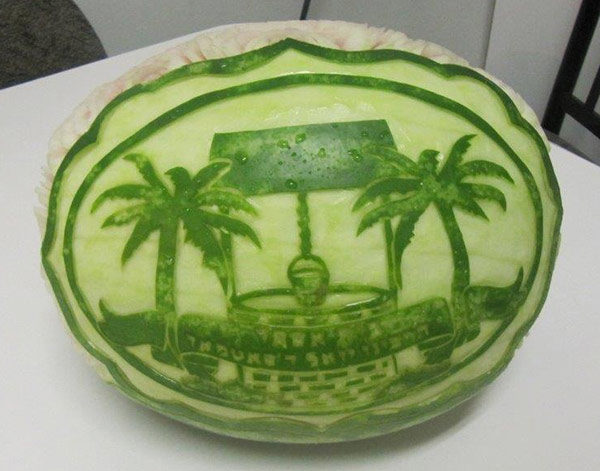 Bais Esther school logo watermelon carving