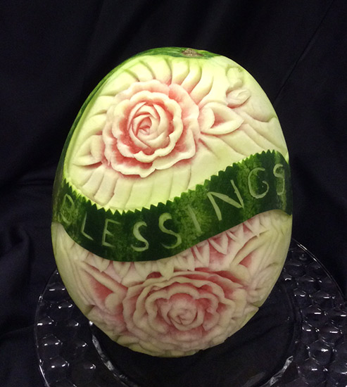 """Blessings"" watermelon carving for Easter"