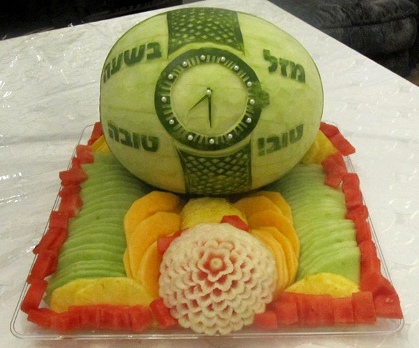 Mazel Tov watch watermelon carving with added bling