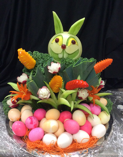 Easter Bunny arrangement with carved melon