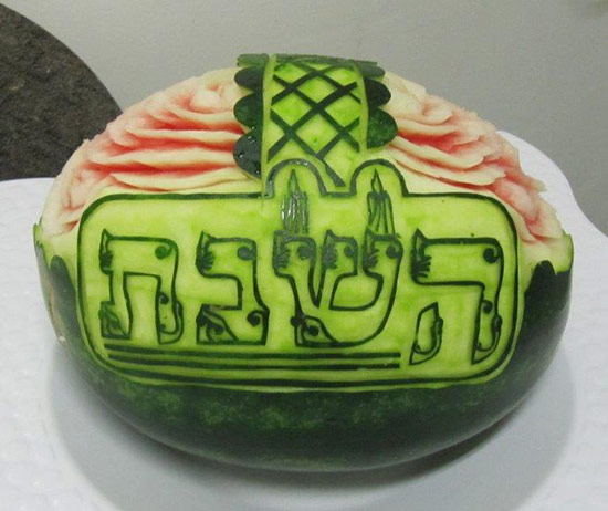 Watermelon carving with Shabbat logo in Hebrew