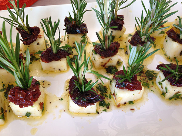 rosemary-skewered mozzarella appetizer