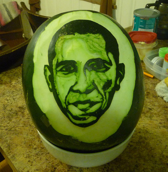 Obama watermelon is one of Muhammad Siddiqui's carved watermelon portraits