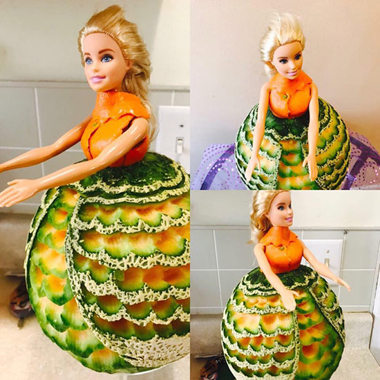 princess cantaloupe carving by Wilma Silva