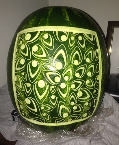 watermelon lantern carved with peacock feather design