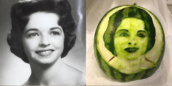Wilma Silva's second attempt at Carved Faces on Watermelons