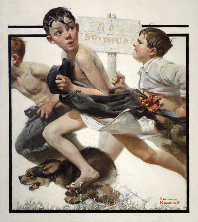 "Norman Rockwell's ""No Swimming"" illustration"