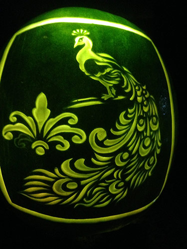 peacock watermelon lantern by Ernesto Alvarez